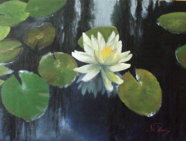 ''Water lily''(200euro,30x40cm,oil on cardboard,2009,no frame,for sale).jpg -
